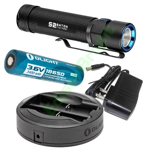 Olight S2 Baton Flashlight Senter Led Rechargeable Bundle olight s2 950 lumen cree led flashlight w 3400ma 18650 battery omni dok chgr ebay
