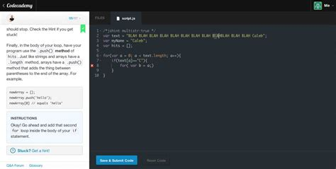 Your Name Or Text for loops project search text for your name codecademy
