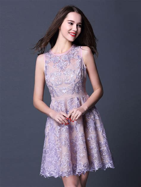pattern party dress purple round neck sleeveless a line lace pattern party