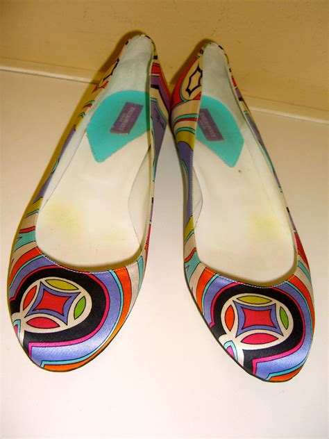 coloured flat shoes vintage pucci shoes ballet satin multi color flats 7 5 italy