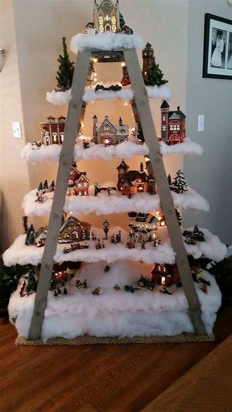 measurements christmas tree village display wood step ladder shelving with 6 steps