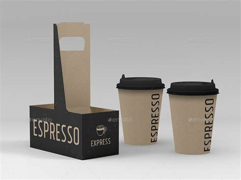 Coffee Or Drink Take Out Carrier Vol 2 Packaging Mock Up By Ina717 Beverage Carrier Template