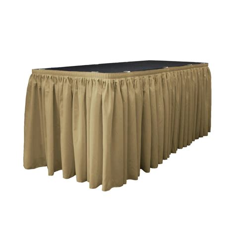 6 ft table skirt la linen 17 ft x 29 in taupe polyester poplin table