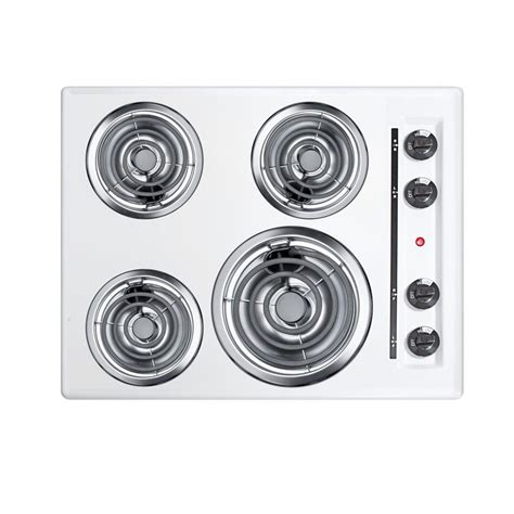 24 Electric Cooktop Summit Appliance 24 In Coil Electric Cooktop In White