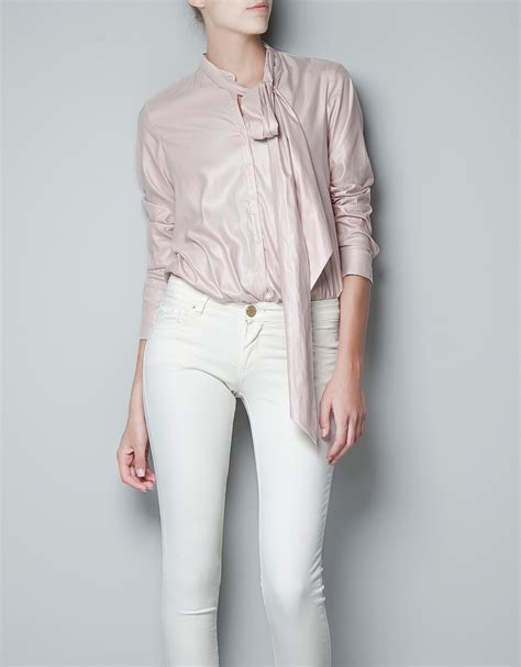 Blouse Zhara zara blouse with bow collar in pink lyst