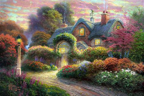 Http Uploads5 Wikipaintings Org Images Thomas Kinkade Cottage Paintings By Kinkade