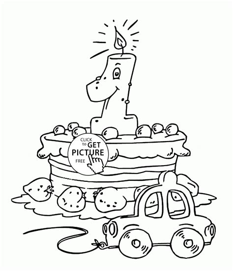 coloring pages first birthday happy 1st birthday cake coloring page for kids holiday