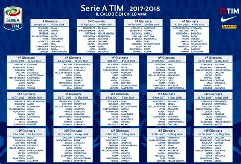 Calendario Serie A Roma Juventus Calendario Serie A 2017 2018 Date Soste Turni