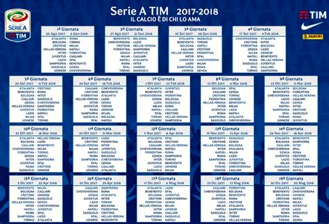 Calendario 1 Giornata Serie A Calendario Serie A 2017 2018 Date Soste Turni
