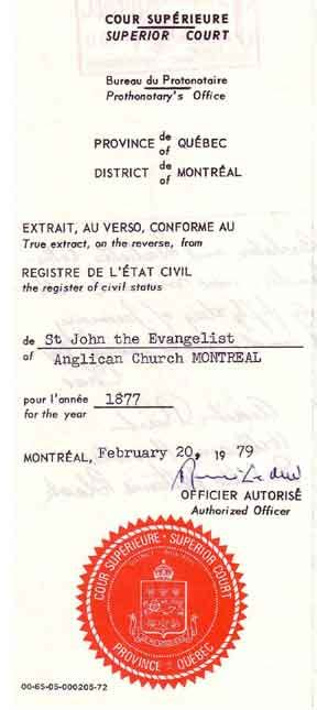 Montreal Marriage Records William Wallace Knowles Genealogy Source Records