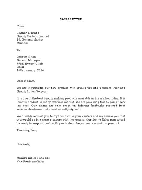 Sales Letter Business Sales Letter Template 2