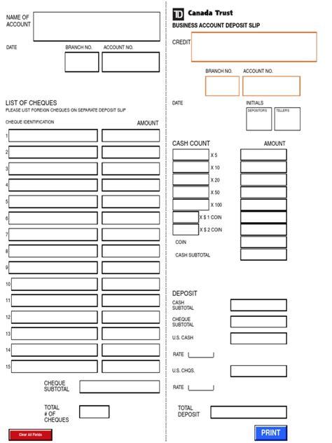 Td Bank Letter For Direct Deposit Td Direct Deposit Form For Business Docshare Tips