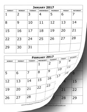 2017 Calendar Printable 2 Months Per Page