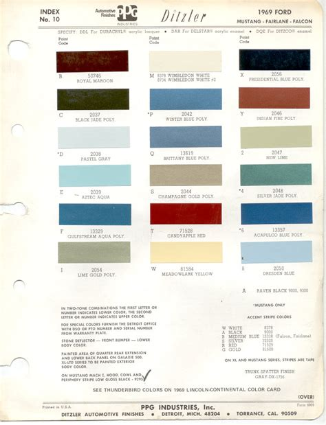 paint chips 1969 ford mustang