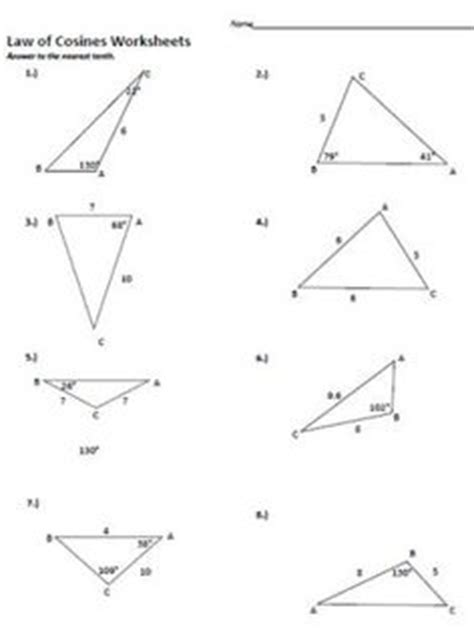 Of Sines And Cosines Worksheet by And Cosine Worksheets Of Cosines And Worksheets