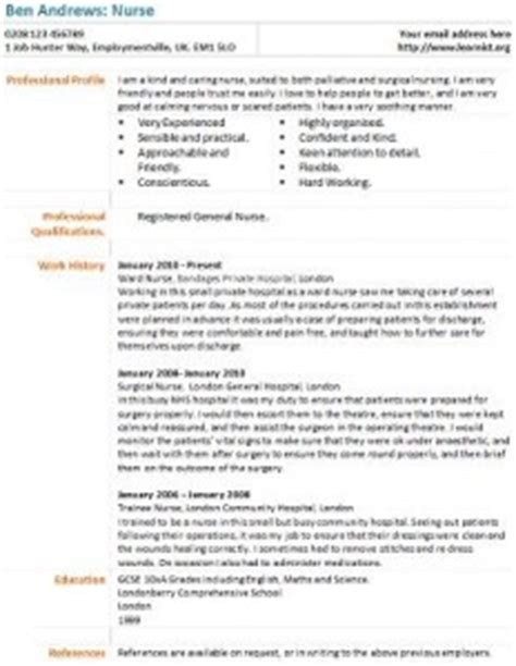 nurse cv example learnistorg