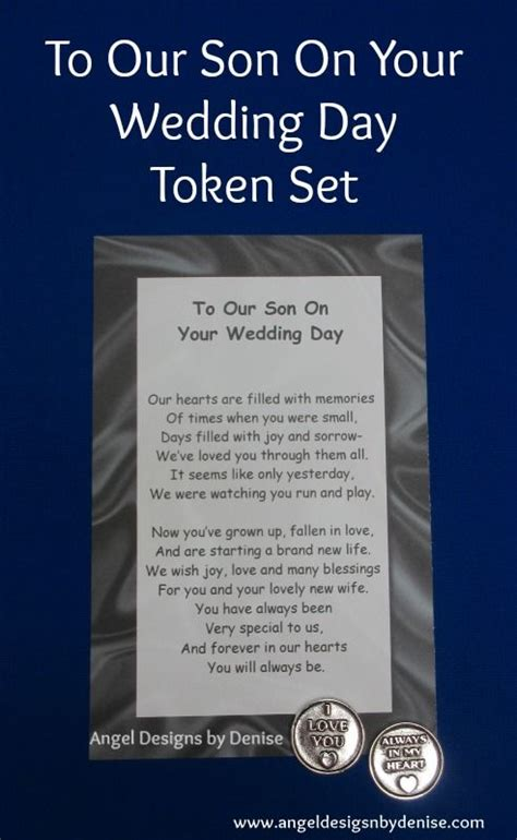 No At Your Wedding Our One by To Our On Your Wedding Day Token Set This Poem With A