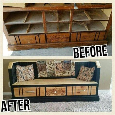built in storage bench with drawers diy dresser into a gorgeous bench with storage drawers
