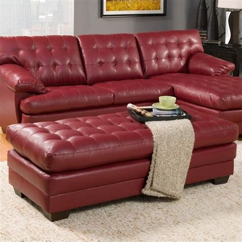 red tufted ottoman trent home brooks leather oversized tufted cocktail
