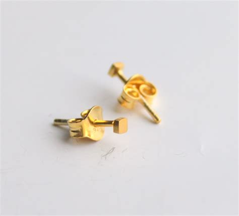 2mm tiny dainty simple geometric square stud earrings gold