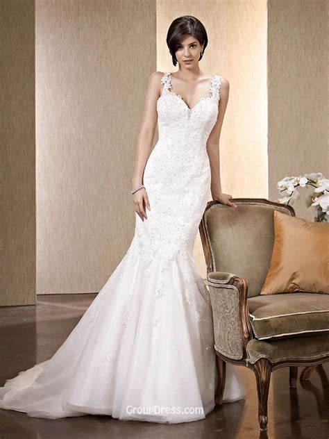 Floor Length Wide Straps Backless Lace Mermaid Wedding Dress   GroupDress.com