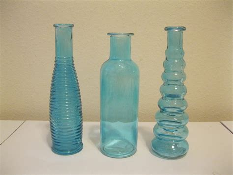 Decorative Colored Glass Vases 3 Blue Decorative Colored Glass Bottles Floral Bud Vase