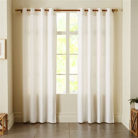 white linen curtain linen cotton grommet curtain white west elm