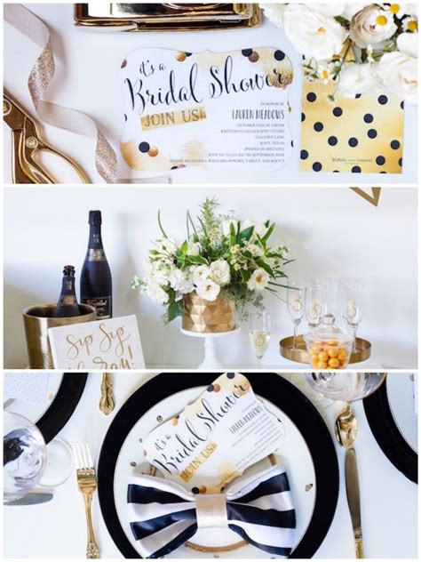 black and white bridal shower centerpiece ideas kara s ideas black white gold geometric bridal