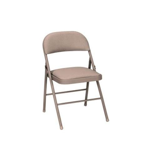 cosco deluxe fabric padded folding chairs in antique linen