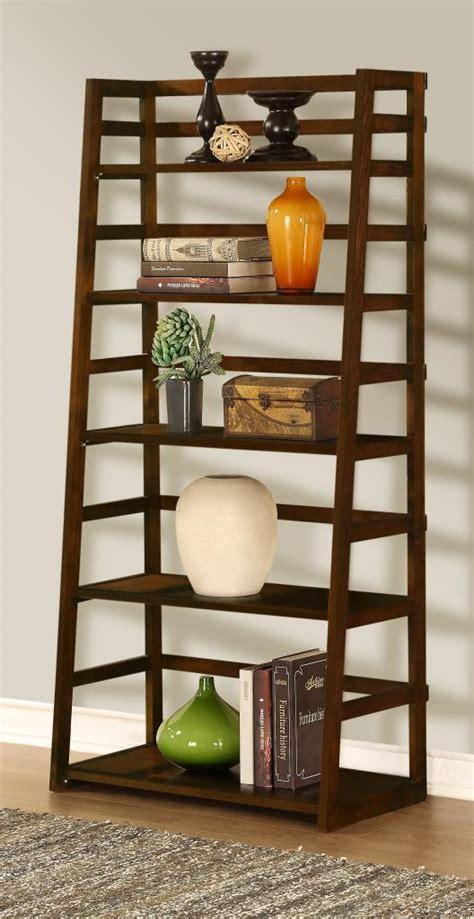 simpli home acadian ladder shelf bookcase rich tobacco brown solid wooden 5 tier bookshelf ladder shelf bookcase rich