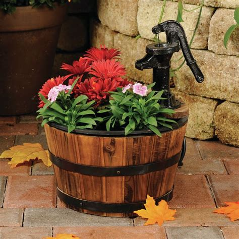 old tyme small whiskey barrel fountain planter smartpond