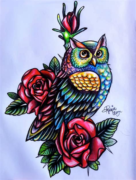 owl tattoo design color owl tattoo design by moterpants on deviantart