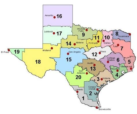 texas school region map transition information education service centers