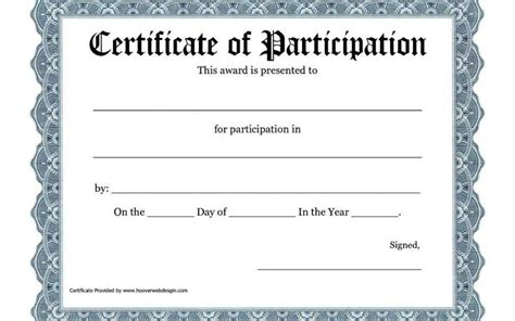 free templates for certificates of participation free printable certificates of participation template