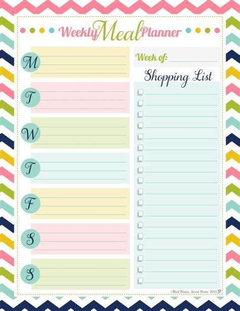 best printable meal planner 25 best ideas about meal planner printable on pinterest
