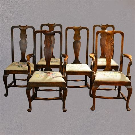Antique Dining Chairs Uk Antique Set Of Six Dining Chairs Style Oak C1890 383261