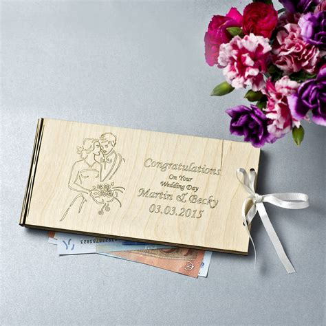 Giving Wedding Gift by Personalised Wooden Money Wedding Gift Envelopes By