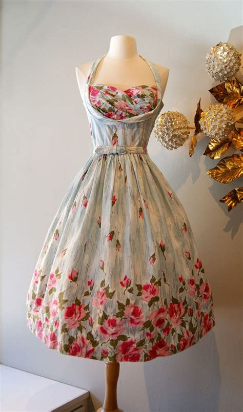 Dress Vintage vintage dress 1950s print halter dress at xtabay