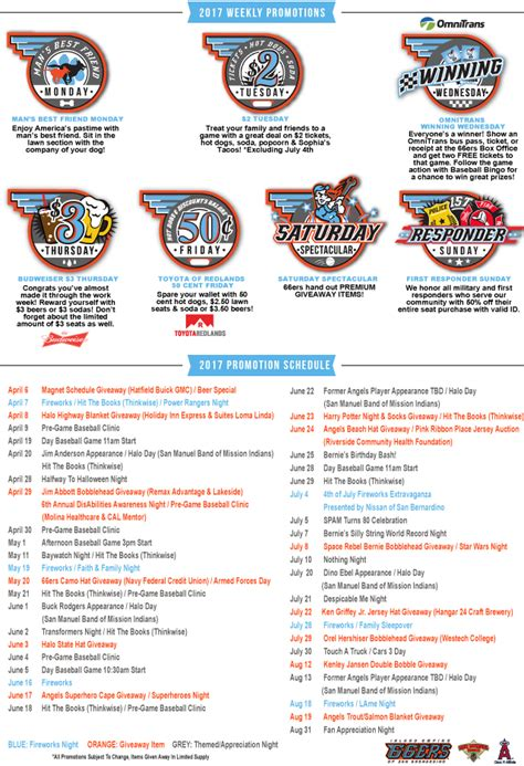 Angels Giveaways 2017 - 2017 promotions inland empire 66ers tickets