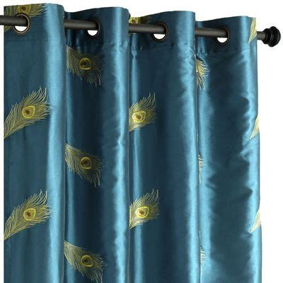 peacock feather curtains peacock feather grommet top curtain bedrooms pinterest