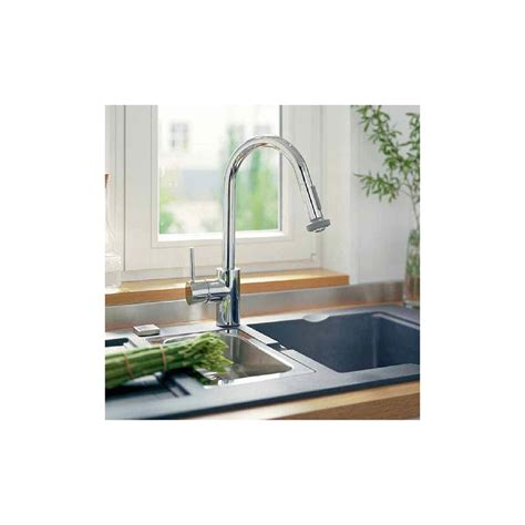 hansgrohe 04247000 chrome talis s pull down kitchen faucet faucet com 14877801 in steel optik by hansgrohe