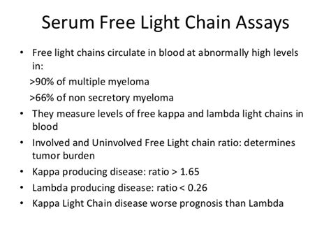 kappa and lambda light chains kappa lambda light chains free ratio quantitative serum