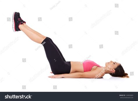On Your While You Working On The Floor by Doing Leg Lifts Strengthen Stock Photo 124035805