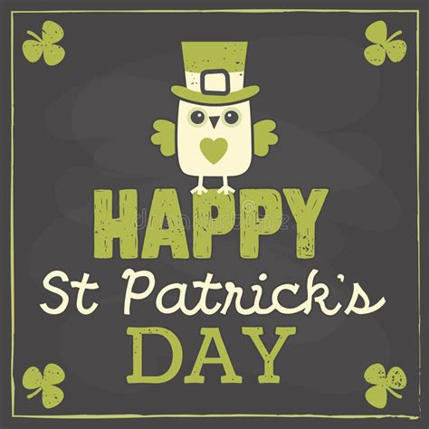 st s day photo card template st patricks day card with owl on chalkboard stock