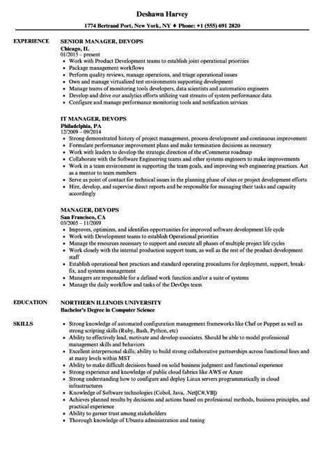 Devops Resume by Manager Devops Resume Sles Velvet