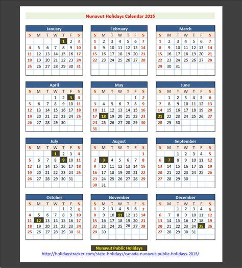 Calendar Of Holidays 2015 Nunavut Canada Holidays 2015 Holidays Tracker