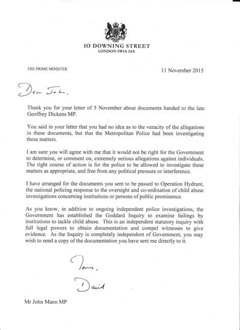 Response Letter From Minister Letter And Response From The Prime Minister Regarding The Dickens File Mann
