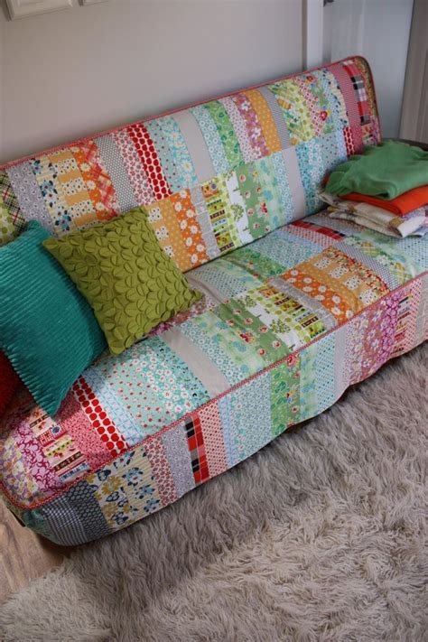 sofa quilt patchwork quilted couch slipcover what a great idea