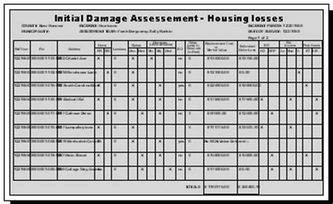 Damage Assessment Tool Damage Assessment Form Template