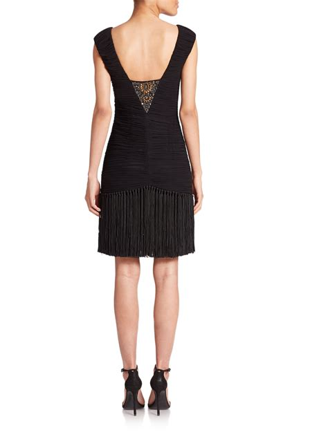 fringe beaded dress sue wong beaded ruched fringe dress in black lyst